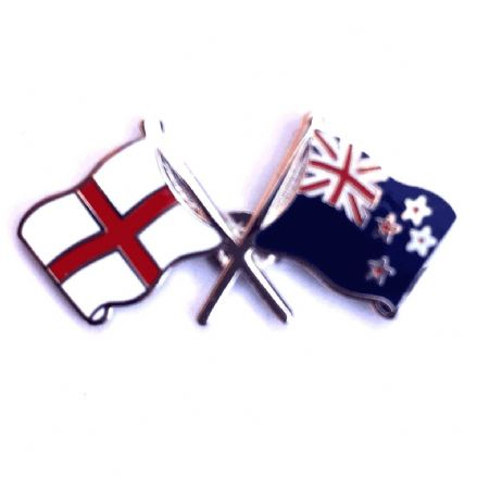 England and New Zealand Crossed Flags Lapel Badge